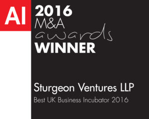 Best UK Business Incubator 2016 - M&A Sturgeon Ventures Award
