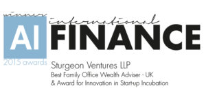2015 Finance Awards, Best-Family-Office-Wealth-Adviser-UK-Award-for-Innovation-in-Start-up-Incubation- Sturgeon Ventures Award